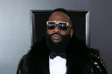 Jan 28, 2018; New York, NY, USA; Rick Ross arrives at the 60th Annual Grammy Awards at Madison Square Garden.