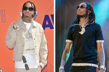 Tyga arrives at the 2018 BET Awards held at the Microsoft Theater in Los Angeles, CA on Sunday, June 24, 2018. / Offset (Kiari Kendrell Cephus) of Migos during Summerfest Music Festival at Henry Maier Festival Park on July 8, 2017, in Milwaukee, Wisconsin
