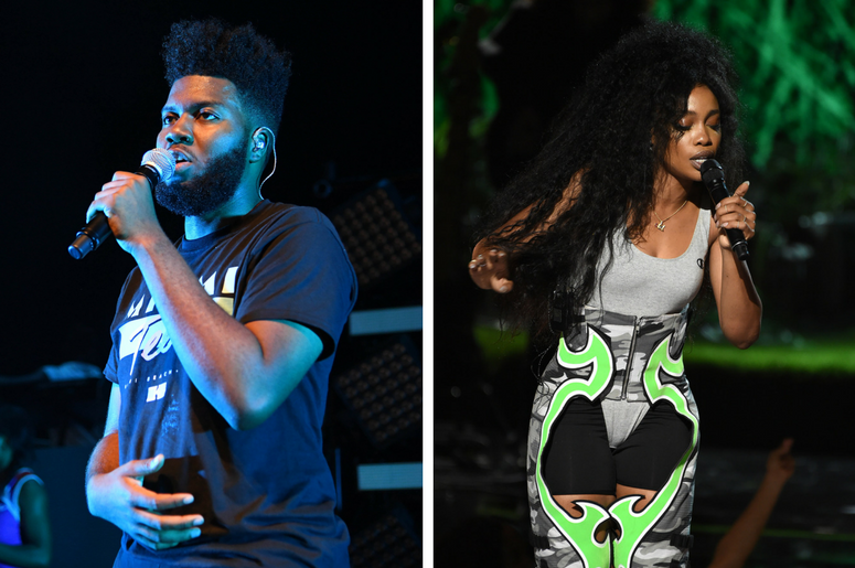 Khalid performs at the The Fillmore Miami Beach at Jackie Gleason Theater./ SZA performs on the 2017 BET Awards at the Microsoft Theater on June 25, 2017 in Los Angeles, California.