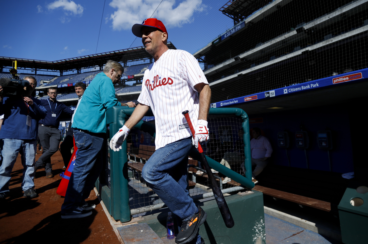 53a04f81c72249 Diehard Fan: Actor Bruce Willis Throws 1st Pitch In Philly   Q102.1