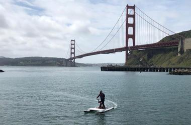 Electric Water Bike (Photo credit: Carrie Hodousek/KCBS Radio)