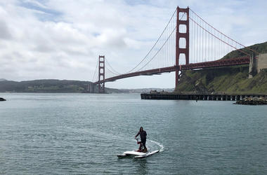 Electric Water Bike (Photo credit: Carrie Hodousek/KCBS Radio)