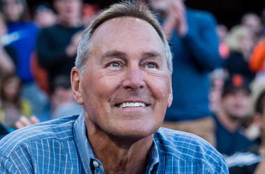 Apr 29, 2017; San Francisco, CA, USA; NFL former player Dwight Clark is introduced to a standing ovation during the fourth inning between the San Francisco Giants and the San Diego Padres at AT&T Park.