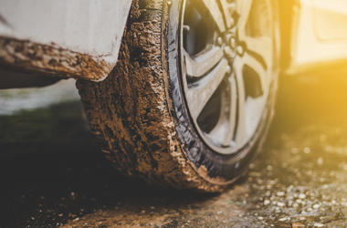 Close up of mud car tires (Photo credit: Getty Images)