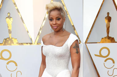 March 4, 2018; Hollywood, CA, USA; Mary J. Blige arrives at the 90th Academy Awards at Dolby Theatre. Mandatory Credit: Dan MacMedan-USA Today Network