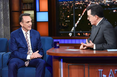 The Late Show with Stephen Colbert and guest Hank Azaria during Tuesday's April 24, 2018 show. Photo: Scott Kowalchyk/CBS ©2018 CBS Broadcasting Inc. All Rights Reserved.