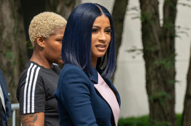 NEW YORK, NY - June 25: Cardi B departs from court after being arraigned on misdemeanor assault charges at the Queens Criminal Court on June 25, 2019 in New York City. (Photo by David Dee Delgado/Getty Images)
