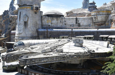 ANAHEIM, CALIFORNIA - MAY 29: The Millennium Falcon at the Star Wars: Galaxy's Edge media preview at The Disneyland Resort at Disneyland on May 29, 2019 in Anaheim, California. (Photo by Amy Sussman/Getty Images)