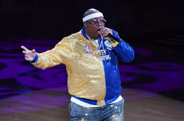 OAKLAND, CALIFORNIA - JUNE 13: Rapper E-40 performs during Game Six of the 2019 NBA Finals between the Golden State Warriors and the Toronto Raptors at ORACLE Arena on June 13, 2019 in Oakland, California. NOTE TO USER: User expressly acknowledges and agr