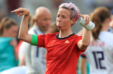 REIMS, FRANCE - JUNE 24: Megan Rapinoe of the USA reacts after the 2019 FIFA Women's World Cup France Round Of 16 match between Spain and USA at Stade Auguste Delaune on June 24, 2019 in Reims, France. (Photo by Mar