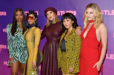 """LOS ANGELES, CALIFORNIA - AUGUST 25: (L-R) Keke Palmer, Cardi B, Jennifer Lopez, Constance Wu, and Lili Reinhart attend STX Entertainment's """"Hustlers"""" Photo Call at Four Seasons Los Angeles at Beverly Hills on August 25, 2019 in Los Angeles, California. ("""