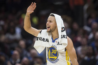 Dec 5, 2018; Cleveland, OH, USA; Golden State Warriors guard Stephen Curry (30) looks to celebrate with forward Kevin Durant (not pictured) during the second half against the Cleveland Cavaliers at Quicken Loans Arena. Mandatory Credit: Ken Blaze-USA TODA