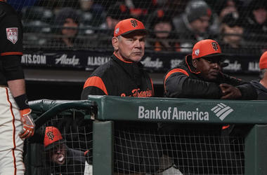 Mar 25, 2019; San Francisco, CA, USA; San Francisco Giants manager Bruce Bochy (15) watches the game against the Oakland Athletics during the first inning at Oracle Park. Mandatory Credit: Stan Szeto-USA TODAY Sports