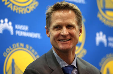 Golden State Warriors head coach Steve Kerr during a news conference at the team's practice facility in Oakland, Calif., on Tuesday, May 20, 2014. (Photo by Jane Tyska/Bay Area News Group/MCT/Sipa USA)