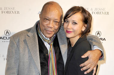 PARK CITY, UT - JANUARY 20: Producer Quincy Jones (L) and actress Rashida Jones attend the 'Celeste and Jesse Forever' dinner held at Acura Studio on January 20, 2012 in Park City, Utah. (Photo by Jerod Harris/Getty Images for Acura)