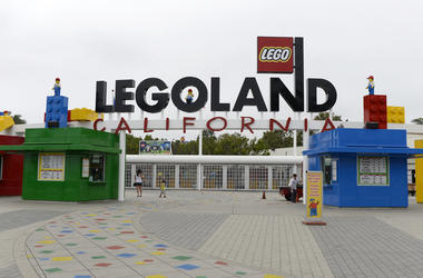 CARLSBAD, CA-SEPTEMBER-17: Entrance to Legoland California theme park next to North America's first ever Legoland Hotel at Legoland on September 17, 2013 in Carlsbad, California. The three-story, 250-room hotel is located at the entrance of Legoland Calif