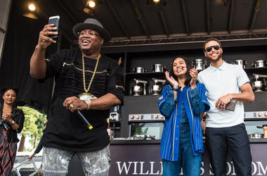 E-40 and Ayesha Curry and special guest Stephen Curry pose on the Culinary Stage during Day One of BottleRock Napa Valley 2017 on May 26, 2017 in Napa, California. (Photo by Chris Tuite/ImageSPACE)