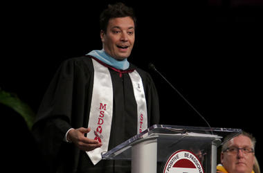 Jimmy Fallon gives a commencement speech to Marjory Stoneman Douglas High School seniors during their graduation ceremony on Sunday, June 3, 2018 at the BB&T Center in Sunrise, Fla. (Photo by Staff/Sun Sentinel/TNS/Sipa USA)