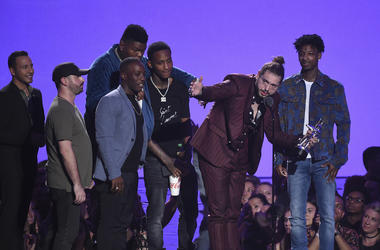 NEW YORK CITY - AUGUST 20: Post Malone, recipient of the award for Song of the Year, and 21 Savage speak onstage during the 2018 MTV Video Music Awards at Radio City Music Hall on August 20, 2018 in New York City. (Photo by Frank Micelotta/PictureGroup/Si