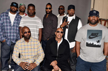 BURBANK, CA - OCTOBER 02: (L-R, standing) Rappers Ghostface Killah, Method Man, GZA, RZA, Inspectah Deck, Cappadonna, Raekwon, (L-R, seated), Masta Killa and U-God of the Wu-Tang Clan pose at a press conference to announce they have signed with Warner Bro