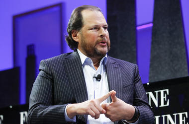 SAN FRANCISCO, CA - NOVEMBER 03: Marc Benioff speaks during the Fortune Global Forum - Day2 at the Fairmont Hotel on November 3, 2015 in San Francisco, California. (Photo by Kimberly White/Getty Images for Fortune)