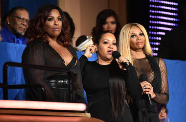 "NEW YORK, NY - JULY 11: (L-R) DJ Spinderella and Cheryl ""Salt"" James and Sandra ""Pepa"" Denton of Salt-N-Pepa speak during the VH1 Hip Hop Honors: All Hail The Queens at David Geffen Hall on July 11, 2016 in New York City. (Photo by Theo Wargo/Getty Images"