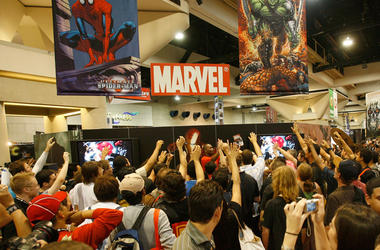 SAN DIEGO - JULY 27: People gather at the Marvel booth at the 2007 Comic-Con held at the San Diego Convention Center July 27, 2007 in San Diego California. (Photo by Mark Davis/Getty Images)
