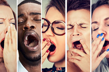 Multiethnic group of sleepy people women and men with wide open mouth yawning eyes closed looking bored. Lack of sleep laziness concept