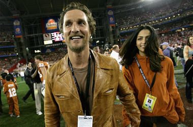 GLENDALE, AZ - JANUARY 05: Actor Matthew McConaughey and girlfriend Camila Alves celebrate after the Texas Longhorns defeated the Ohio State Buckeyes in the Tostitos Fiesta Bowl Game on January 5, 2009 at University of Phoenix Stadium in Glendale, Arizona