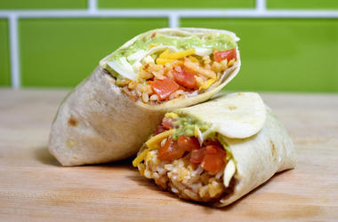 IRVINE, CA - SEPTEMBER 12: Taco Bell's 7-Layer Burrito is a popular vegetarian item and menu staple. (Photo by Joshua Blanchard/Getty Images for Taco Bell)