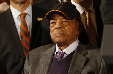 Jun 4, 2015; Washington, DC, USA; Baseball hall of famers Monte Irvin (left, not pictured) and Willie Mays (right) and members of the San Francisco Giants listen during a ceremony honoring the World Series champion Giants in the East Room at the White Hou