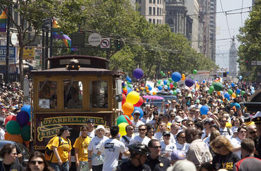SAN FRANCISCO, CA - JUNE 28: Thousands of people fill Market Street during the 39th annual gay pride parade June 28, 2009 in San Francisco, California. The parade drew hundreds of thousands of people to downtown San Francisco to celebrate gay, lesbian, bi