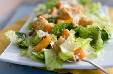 Caesar salad with romaine lettuce