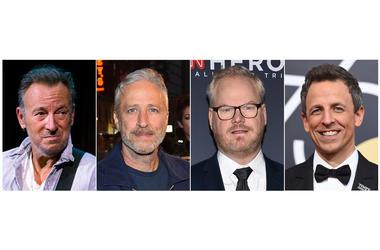 Bruce Springsteen, comedian Jon Stewart, comedian Jim Gaffigan and late night talk show host Seth Meyers