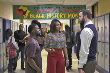 """Kevin Hart, from left, Tiffany Haddish and Taran Killam in a scene from the film, """"Night School."""""""