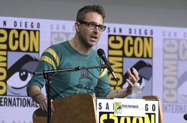 "In this July 21, 2017 file photo, Chris Hardwick moderates the ""Fear The Walking Dead"" panel at Comic-Con International in San Diego. AMC host Chris Hardwick is returning to work after a review of sexual assault allegations against him by a former girlfri"