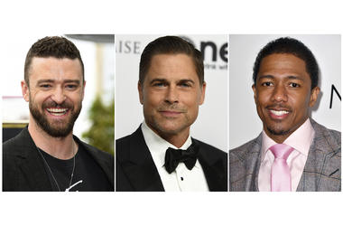 "This combination photo shows, from left, actor-singer Justin Timberlake, actor Rob Lowe and comedian-TV host Nick Cannon who are involved in three game shows debuting on Fox. Timberlake co-created and will executive produce ""Spin the Wheel."" Lowe will hos"