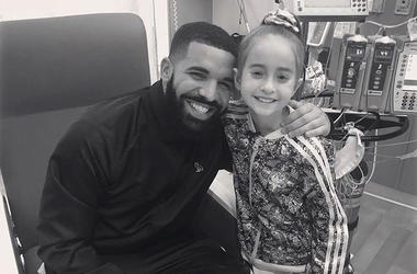 "This Monday, Aug, 20, 2018 photo provided by the rapper Drake shows him posing with Sofia Sanchez, at Lurie Children's Hospital in Chicago. Drake surprised her after she recorded a video of herself dancing to the rapper's ""In My Feelings"" and invited him"