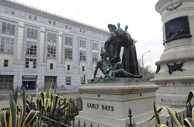 This March 2, 2018 file photo shows a statue that depicts a Native American at the feet of a Spanish cowboy and Catholic missionary in San Francisco. A San Francisco board has decided to remove the 19th-century statue that activists say is racist and deme