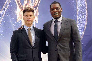 Colin Jost, left, and Michael Che, co-hosts for the 70th Emmy Awards, speak to the media before rolling out the gold carpet outside the Microsoft Theatre, Thursday, Sept. 13, 2018, in Los Angeles. The awards will be held on Monday. (Photo by Chris Pizzell