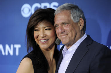 """In this June 16, 2014 file photo, Les Moonves, right, president and CEO of CBS Corporation, and his wife Julie Chen pose together at the premiere of the CBS science fiction television series """"Extant"""" in Los Angeles. Chen returned to television with an unu"""