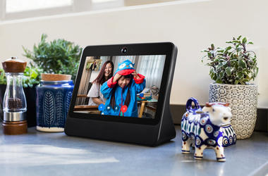 This image provided by Facebook shows the company's product called Portal. Facebook is marketing the device Portal, as a way for its more than 2 billion users to chat with one another without having to fuss with positioning and other controls. (Facebook v
