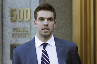 In this March 6, 2018 file photo, Billy McFarland, the promoter of the failed Fyre Festival in the Bahamas, leaves federal court after pleading guilty to wire fraud charges in New York. A federal judge has given McFarland a six-year prison term. McFarland