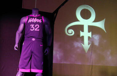 The new City Edition Minnesota Timberwolves uniform, honoring the legacy of the late rock star Prince, is unveiled Thursday, Nov. 1, 2018, in Chanhassen, Minn. The NBA basketball team is scheduled to wear the Prince-inspired uniforms eight times during th