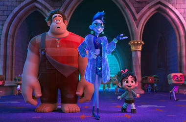 """This image released by Disney shows characters, from left, Ralph, voiced by John C. Reilly, Yess, voiced by Taraji P. Henson and Vanellope von Schweetz, voiced by Sarah Silverman in a scene from """"Ralph Breaks the Internet."""" Studios on Sunday, Nov. 25, 201"""