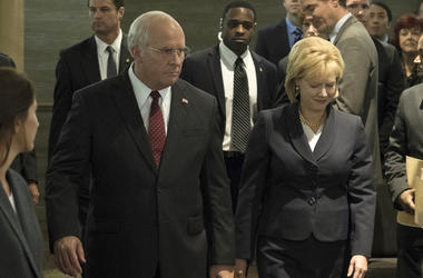 "This image released by Annapurna Pictures shows Christian Bale as Dick Cheney, left, and Amy Adams as Lynne Cheney in a scene from ""Vice."" On Thursday, Dec. 6, 2018, the film was nominated for a Golden Globe award for best motion picture musical or comedy"
