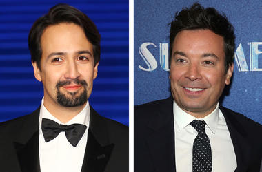 "This combination photo shows actor Lin-Manuel Miranda at the ""Mary Poppins Returns"" premiere in London on Dec. 12, 2018, left, and TV late night host Jimmy Fallon at the opening night of ""Summer: The Donna Summer Musical"" in New York on April 23, 2018. ""T"