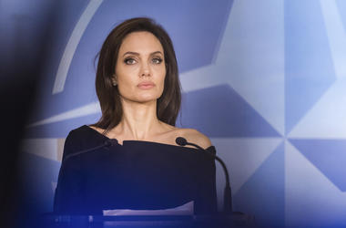 In this file photo dated Wednesday, Jan. 31, 2018, Special Envoy for the United Nations High Commissioner for Refugees Angelina Jolie addresses the media at NATO headquarters in Brussels. American actress Jolie has not ruled out a move into politics, duri