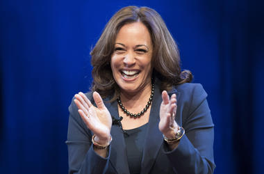 In this Jan. 9, 2019 photo, Sen. Kamala Harris, D-Calif., greets the audience at George Washington University in Washington, during an event kicking off her book tour. Harris, a first-term senator and former California attorney general known for her rigor