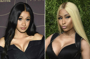 This combination photo shows Cardi B at the Warner Music Group pre-Grammy party in New York on Jan. 25, 2018, left, and Nicki Minaj at the 14th Annual CFDA Vogue Fashion Fund Gala in New York on Nov. 6, 2017. Cardi B and Nicki Minaj will headline concerts